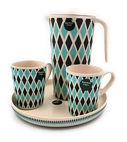 Juego de 4 jarras Aqua con tapa de fibra de bambú + 2 vasos de bambú + recipiente de bambú sin BPA | Jarra de agua Carrafa para uso doméstico – Bar (verde minimalista)