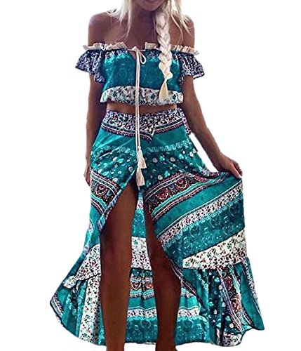 2 Piezas Conjunto Mujer Verano Playa Elegantes Chic Crop Tops Manga Corta + Largas Faldas Vintage Estilo Etnico Boho Impresión Falda Vestidos