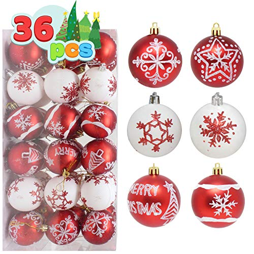 """Joiedomi 36 Pcs Christmas Ball Ornaments, Deluxe Shatterproof Christmas Ornaments for Holidays, Party Decoration, Tree Ornaments, and Special Events (Red&White, 2.36"""")"""