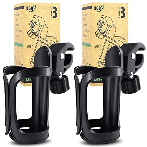2 soportes para bebidas para cochecito, soporte universal para taza y botella de agua, 360 grados