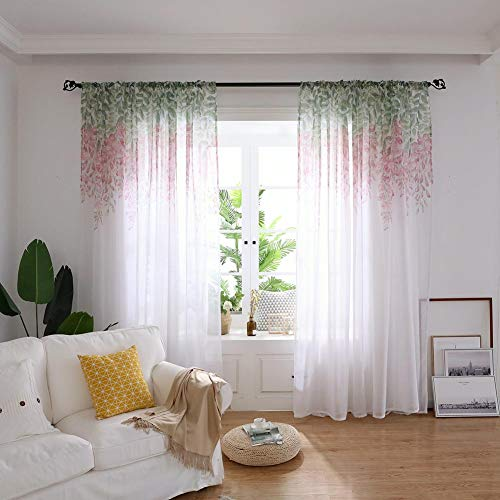 Boyouth Wisteria Flower Pattern Print Voile Sheer Curtains Rod Pocket Window Treatment Drapes Panel for Bedroom Living Room,Pink,39x106-Inches,2 Panels
