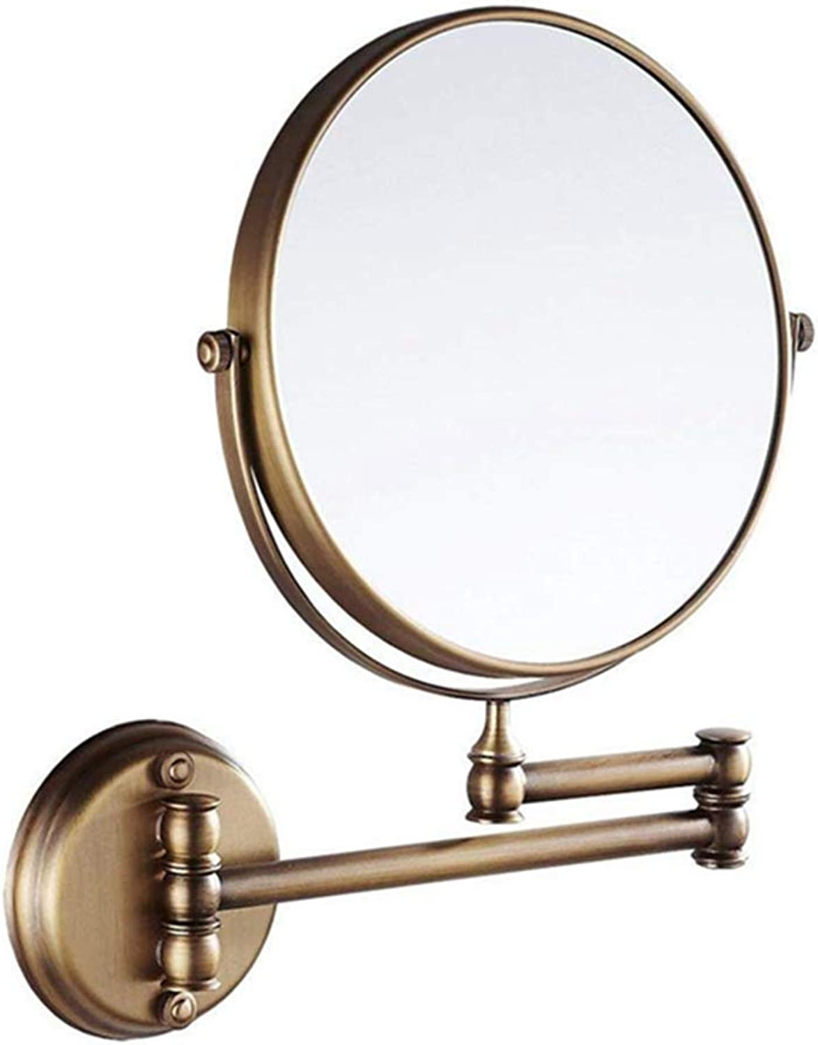 LUDSUY 8 Inch Wall Mount Two Sided 360 Degree Swivel Mirror Antique Brass,Personal Make Up Round Mirrors Classic redatable