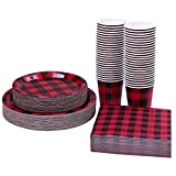 Aneco 200 Pieces Buffalo Plaid Themed Party Supplies Party Tableware...