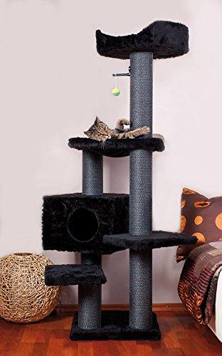 CLEVERCAT Kratzbaum Black Panther. Top standsicheres Modell in Top stylischen Design. Für die Moderne, Junge Wohnung und den verwöhnten Stubentiger. Made in Germany 633.10