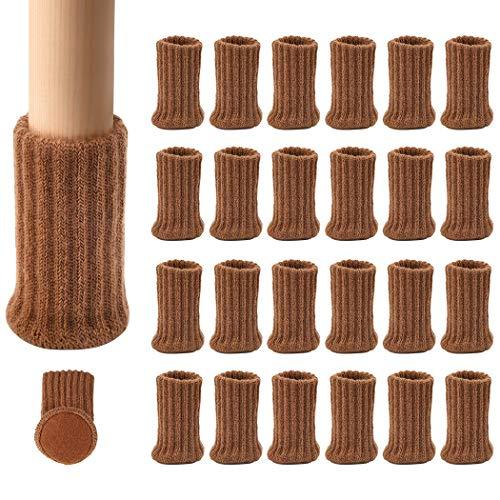 """Ezprotekt Calcetines elásticos para Silla de Mesa, Silla o Silla de Mesa, para Muebles, Diámetro de ajuste de 1""""a 2"""", Gris, Pack de 24 (Marrón)"""