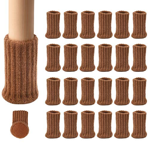 Ezprotekt Möbelsocken, 24er-Pack, Gestrickte Möbelfüße, Stuhlbeinschoner, Stuhlbeine, Rutschfeste Möbelschuhe, Vermeiden Kratzer und Lärm, Passend für Stuhlbeine von 1 bis 2 Zoll, Braun