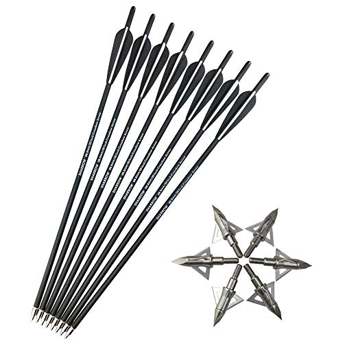 "SHARROW 12 x Armbrustbolzen Armbrustpfeile Carbonpfeile 16\"" 17\"" 18\"" 20\"" 22\"" Carbon Bolzen für Armbrust mit Klinge Broadhead Pfeilspitzen für Armbrust Bogen (Schwarz, 20\"")"