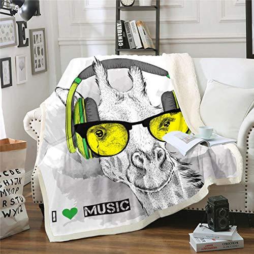 Manta con diseño de animales de jirafa Sherpa para sofá o silla de hip-hop, manta de felpa suave, decoración de habitación doble, 152,4 x 200,7 cm