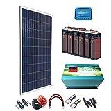 Kit Solar 12v 600W/3000W día Regulador de carga PWM 40A Batería 5OPzS 375Ah Inversor 2000w onda pura con cargador de 35 Ah