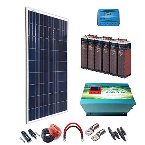 Kit Solar 12v 600W/3000W día Regulador de carga PWM 40A Batería 5OPzS 375Ah Inversor 2000w...