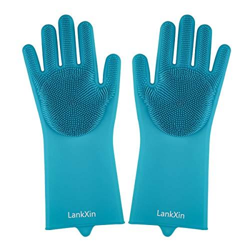 LankXin Guantes de Silicona Antideslizantes para Fregar, Resistentes al Calor para lavaplatos, Cocina, baño, Lavado de Coche y Aseo de Mascotas