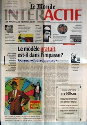 MONDE INTERACTIF (LE) du 20/09/2000 - GUY HASCOET, SECRETAIRE D'ETAT A L'ECONOMIE SOLIDAIRE, CROIT...