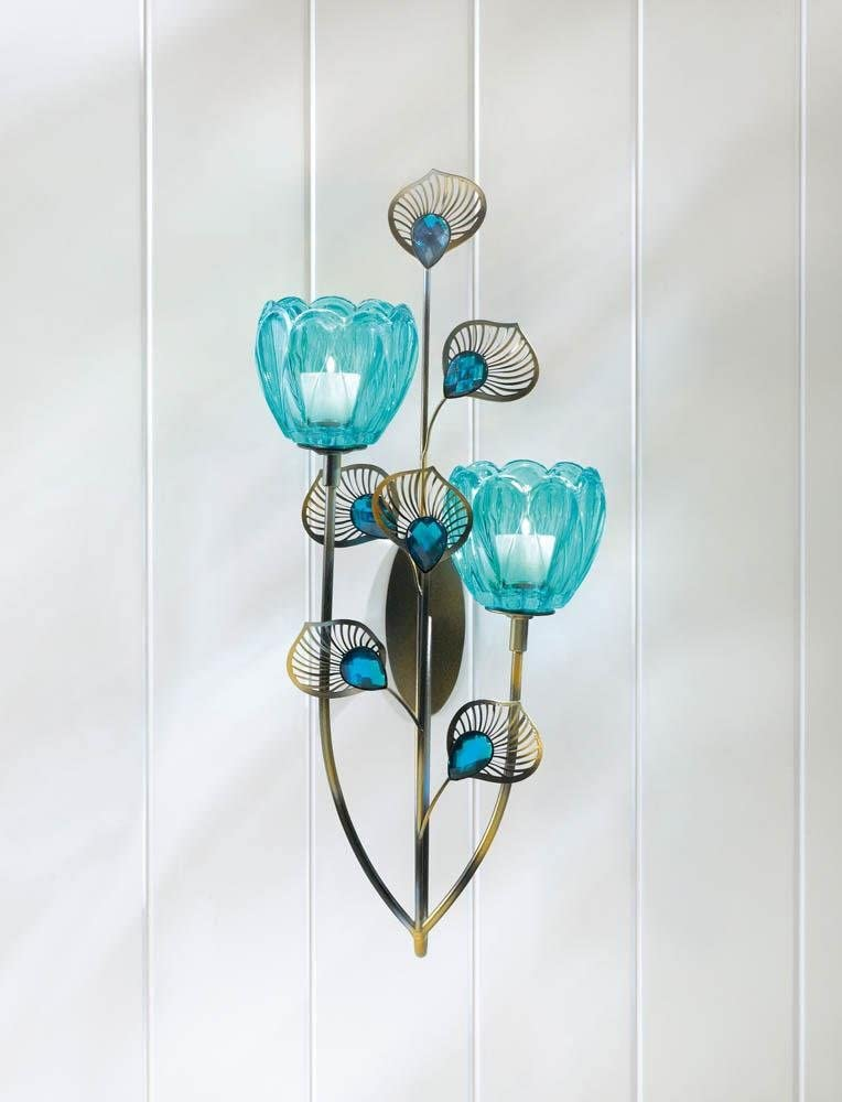 Candle Holders Free shipping Sconce Peacock Inspired free shipping Cup Dual Turquois Blossom