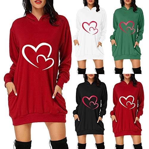 Damen Hoodie Kleid Pullover Langarm Sweatshirt Kapuzenpullover Tops Frühling und Herbst Mini Kleid Oversize Pulloverkleid Longshirt