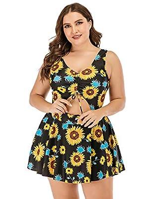 ESPRLIA Plus Size Floral Prinit Halter Swimwear One Piece Pin up Tankini Swimwear (Sunflower Print, 4X-Large)