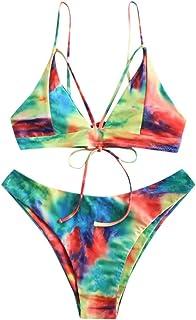 Women Sexy Tie-Dye Lace Up Bikini Set, Ladies Halter Two Piece Swimsuit Push up Swimwear