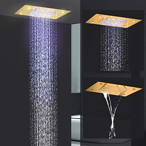 LightInTheBox - Alcachofa de ducha de color dorado contemporáneo con cabezal de lluvia LED de colores en la parte superior, pulverizador rectangular de acero inoxidable