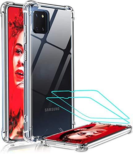 LeYi per Cover Samsung Galaxy Note 10 Lite /A81 con 2 Pellicola in Vetro Temperato, Antiurto Silicone Trasparente Custodia Rigida PC Bumper TPU Smartphone Case per Originale Samsung Note 10 Lite/A81