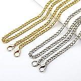 Kroo Bandoulière chaîne en métal pour sacs et portefeuilles, boucle en métal type homard, 116 cm Or et Argent