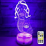 eTongtop Night Lights for Kids 3D Mermaid Night Lamps 7 Colors Changeable nightlight with Timer& Remote Control as Gifts for Girls Women