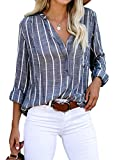 ROSKIKI Womens Casual Roll Sleeve Shirts Henley V Neck Striped Blouse Loose Tunic Tops with Pockets X-Large Blue