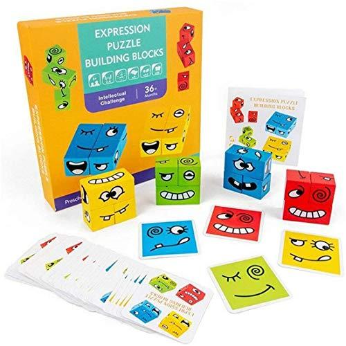ZJN.DD Holzwürfel Gesicht ändernde Puzzle, Bunte Ausdruck Puzzle niedlichen Gesichtsbausteine Lernspielzeugkarten Kinder Geschenk.