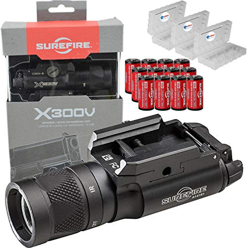 SureFire X300V-B White and IR Output LED Handgun Long Gun WeaponLight with 12 Extra CR123A Batteries and Lightjunction Battery Case