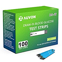 AUVON Blood Glucose Test Strips (100 Count) for use with AUVON DS-W Diabetes Sugar Testing Meter (No Coding Required, 2 Box of 50 Each)
