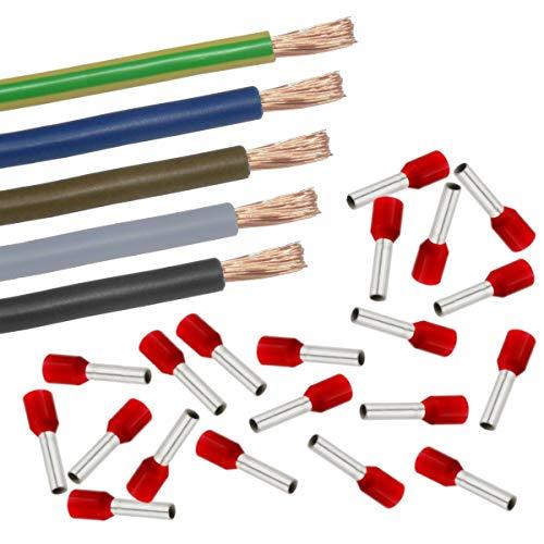 Xenterio Zählerschrank/Elektroverteilung Verdrahtungssatz, 10mm², 5x2m (sw/gr/bn/bl/gn-ge), 50 Aderendhülsen