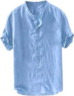 FUERI Mens Linen Shirt Grandad Henley T Shirt Short Sleeve Regular Fit Cotton Banded Collar Casual Summer Tops