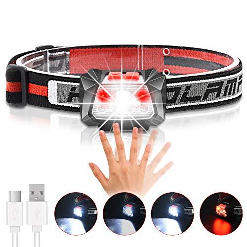 LED Stirnlampe Wiederaufladbare, Ultraleichte und Superhelle, IPX5 Wasserdicht 600 Lumen, Karrong Infrarotsensor Kopflampe mit Rotlicht für Joggen Angeln Wandern