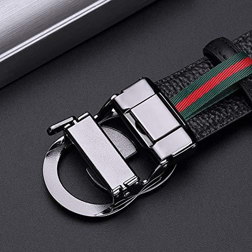 WilliamPOLO Leather Belt for Men, Ratchet Dress Belt for Men with Elegant Gift Box (Black04, 34″-36″ Waist Adjustable)
