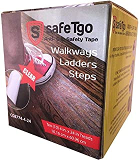 SafeTgo (10 Pack) Strong Translucent/Clear Abrasive Treads - High Traction Grip for Stairs, Steps, Boats, Garage, Ladders | Slip-Resistant Grit | Pre-Cut Peel and Stick Treads | 4 Inch by 24 Inch