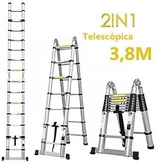 comprar comparacion FIXKIT 3.8M Escalera Plegable Aluminio, Escalera Telescópica(1,9M+1,9M), Escalera Alta Multifuncional Portátil para Loft,1...