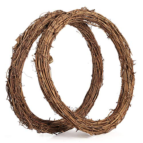 Sntieecr 2 PCS 35 cm Large Natural Grapevine Wreathes Vine Branch Wreath Christmas Rattan Wreath Garland Decoration for DIY Christmas Craft or Wedding Decors