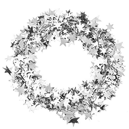 HEEPDD Star Garland, 24.6ft Colorful Glittering Foil Star Shaped Tinsel Wire Garland for Christmas Trees Decoration Wedding Birthday Party Festive Ornament(Silver)