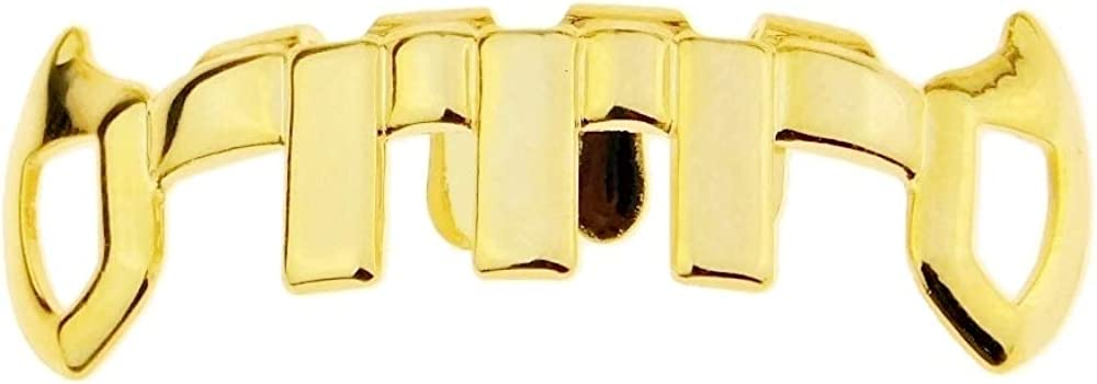 14k Gold Plated Fang Grillz Vertical Bars G Teeth Weekly update Bottom Max 67% OFF Vampire