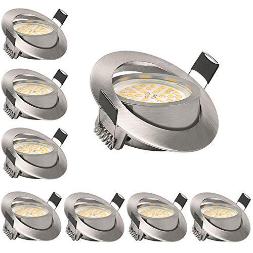 KSIPZE LED Einbaustrahler Dimmbar 6W 500LM Warmweiß 3000K 230V Led Spots Set Schwenkbar Deckenspot Kein Flackern Ersetzt 50W Halogenlampe 8er set