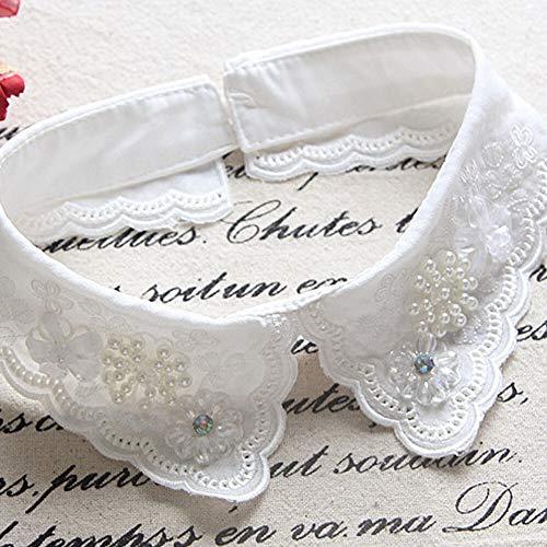 weichuang Collar falso para mujer, 1 pieza de cuello desmontable para camisa, collares falsos con perlas, decoración de encaje, collares falsos, accesorios de moda (color: A)