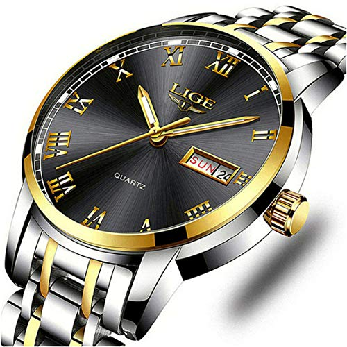 LIGE Watches Men Stainless Steel Waterproof Analogue Quartz Watch Gents Business Automatic Date Watch for Men