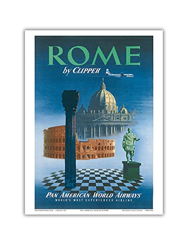 Rome, Italy by Clipper - Pan American World Airways (PAA) - Vintage Airline Travel Poster c.1951 - Master Art Print - 9in x 12in