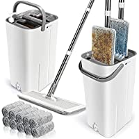 Leadhom Flat Mop and Bucket Set with 10 Microfiber Mop Heads
