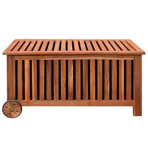 Festnight Auflagenbox Holz Gartenbox Outdoor Aufbewahrungsbox 118 x 52 x 58 cm für Garten Patio oder Terrasse - 2