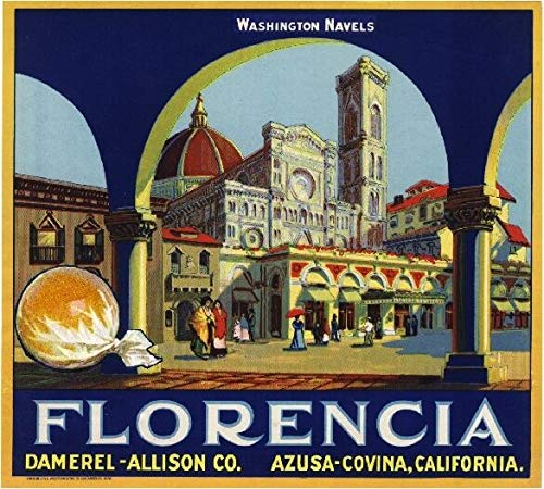 TYmall Metal Sign Wall Plaque 12X12 Inch Sign Azusa Covina Florencia #3 Italy Florence Orange Citrus Fruit Crate Label Retro Decor House Home Metal Poster Tin Signs