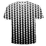 Qier Camisetas Hombre Camiseta Holgada Informal De Manga Corta con Gráfico 3D, Patrón A Cuadros, Negro, 5XL