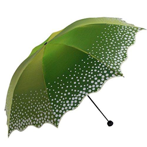 BUKUANG Voyage Umbrella - Pliable Pluie Et Parasol 8 Rib Fort Cadre Windproof Assez Anti UV Protection Solaire,Green