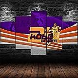 Cuadros 5 Piezas Estrella De Baloncesto Lienzos XXL Modernos Impresión De Imagen Artística Digitalizada Lienzo Decorativo para Tu Salón Dormitorio-con Marco-150X80Cm