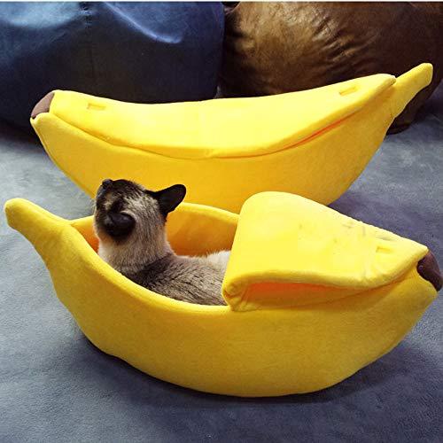 huichang Hundebett Katzenbett Baumwolle Banane Pet Bett Kissen für Hunde Katzen Haustierbett (Mittel)
