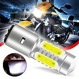 Chemini Super brillante BA20D H6 LED bombilla de faro de motocicleta faro/haz cercano 360 ° blanco brillante 6500K 12V enchufe y play-1PCS