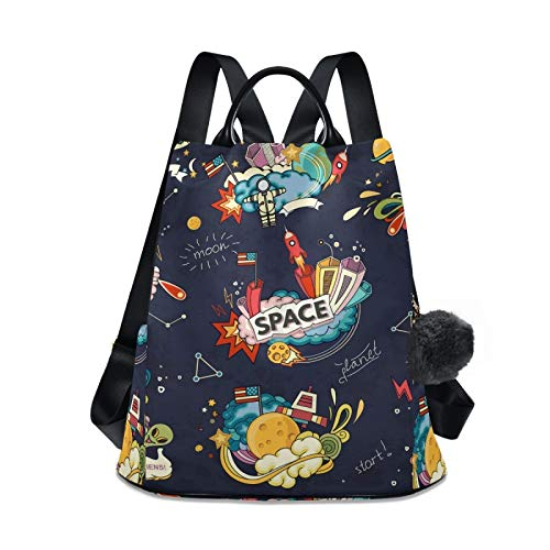 Women's Travel Backpack Purse, Lightweight Waterproof Oxford Small Outdoor Casual Anti-theft Student Backpack Cartoon Space Moon Planet